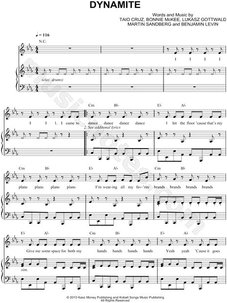 printable lyrics dynamite taio cruz quot dynamite quot sheet music in c minor transposable