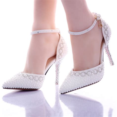 Wedding High Heels For Brides by 2016 New Summer White Pearl Wedding Shoes High