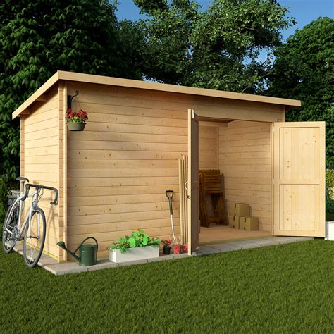 Garden Shed Log Cabin by Billyoh 12 X 6 19mm Pent Log Cabin Windowless Heavy Duty