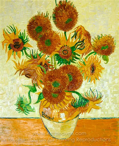 14 Sunflowers In A Vase gogh s sunflowers painting reproduction