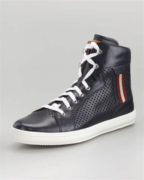 high top bally sneakers bally olir perforated leather hightop sneaker in black for