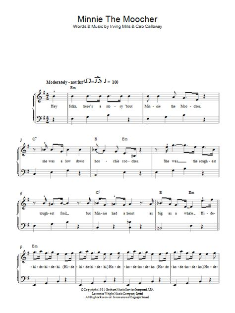 Minnie The Moocher sheet music for piano solo (chords) by ... Minnie The Moocher Chords