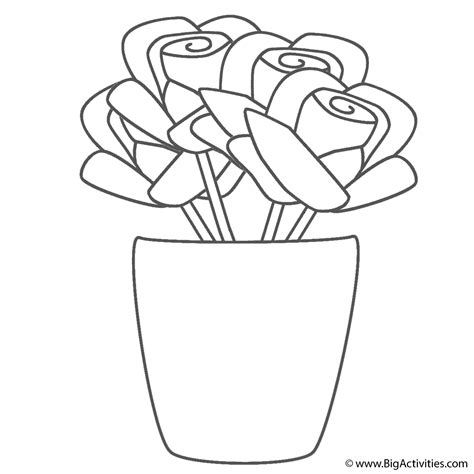 coloring page of a vase roses in vase coloring page plants