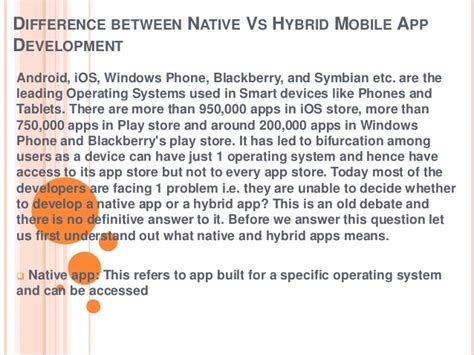 difference between iphone and android difference between vs hybrid mobile app development