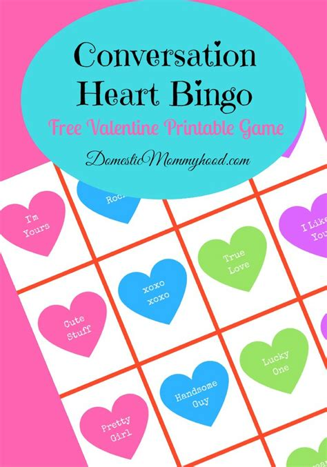 conversation hearts bingo cards template conversation bingo free printable valentines