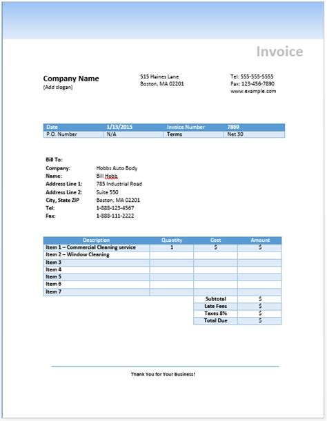 invoice template cleaning services admin free invoice templates