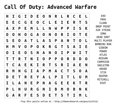 Caller Lookup Call Of Duty Advanced Warfare Word Search