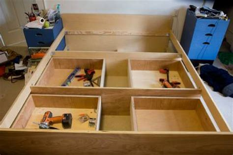 Build A Bed Frame With Drawers How To Build A Platform Bed With Drawers Underneath Woodworking Projects