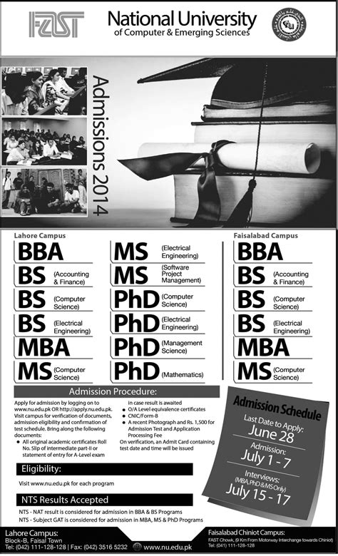 Fast Mba Program by Fast Lahore Cus Admissions 2014 Last Date