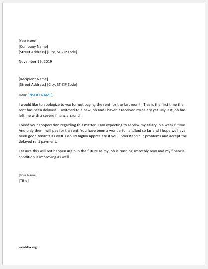 Letter For Rent Delay 46 apology letter templates for everyone word document templates