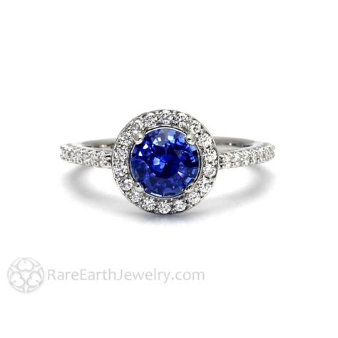 Blue Sapphire Ring V ceylon blue sapphire engagement ring halo