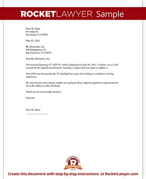 Demand Letter Warranty Warranty Repair Request Letter Create A Free Template With Sle