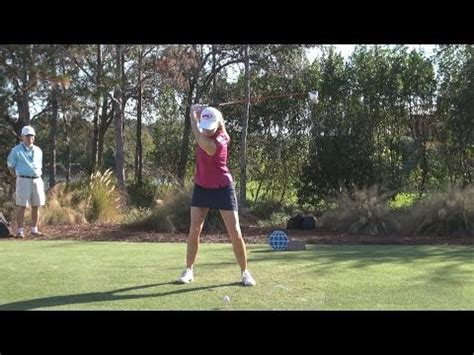 slow motion golf swing face on paula creamer straight face on driver golf swing late