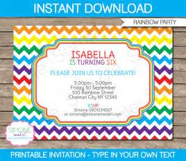 birthday invitations template rainbow invitations template birthday