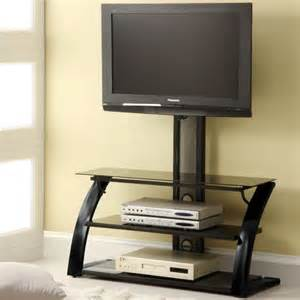 Furniture tv stand with adjustable height mount and oval wooden glass