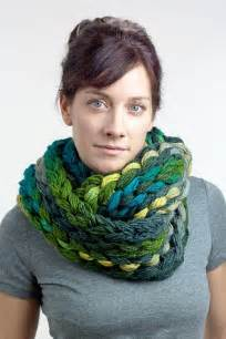 Finger knit chunky infinity scarf green amp teal multicolor one of a