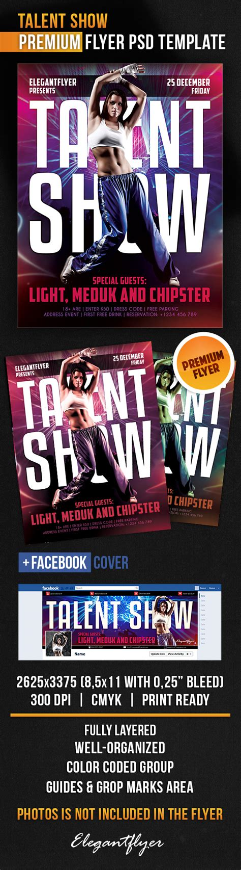 talent show flyer psd template facebook cover by