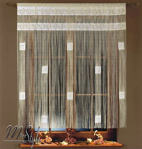 cream string curtains string curtain white or cream greek key window door fringe