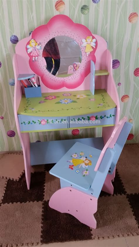 fashion princess wooden kids mirrored dressing vanity with