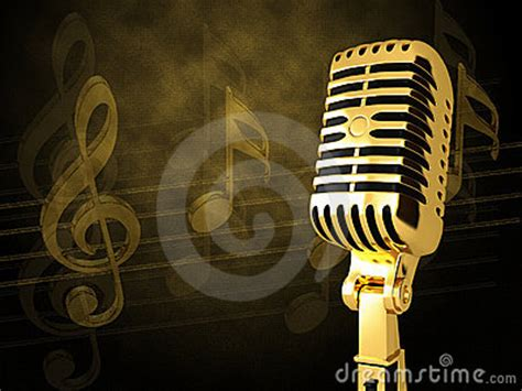 gold vintage microphone stock images image