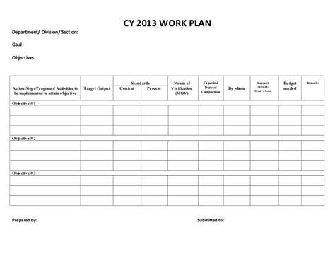 sle of work plan template cy 2013 work plan sle form