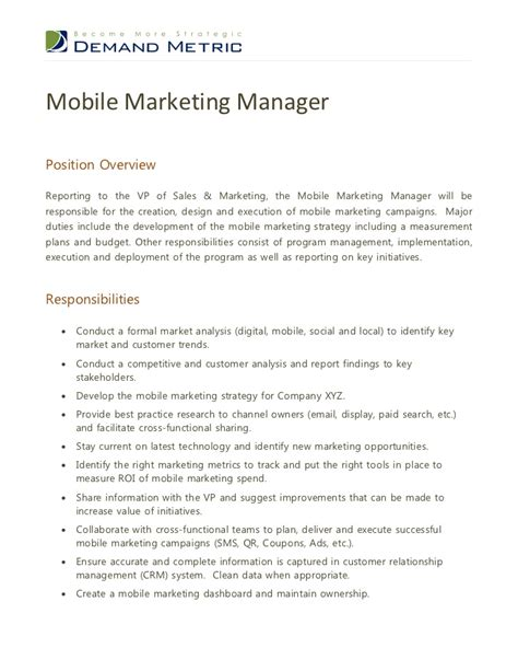 Advertising Manager Description by Mobile Marketing Manager Description