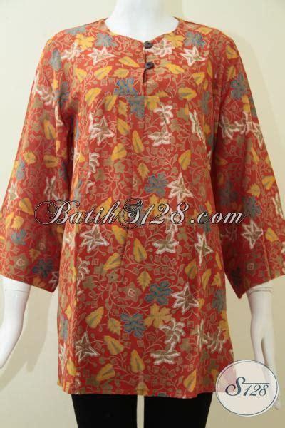 Baju Kerja Xl baju batik wanita kerja harga terjangkau blus batik keren trendy motif dedaunan bahan lembut