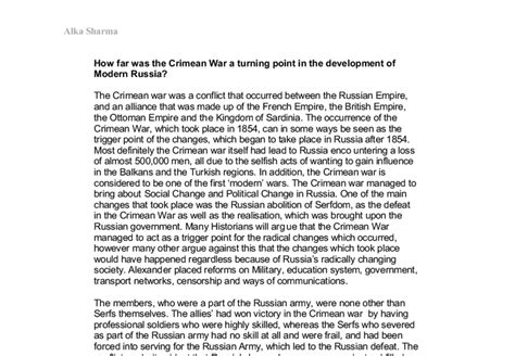 Turning Points In Modern Times Essays On German And European History by How Far Was The Crimean War A Turning Point In The Development Of Modern Russia A Level