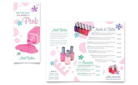spa brochure templates free nail salon brochure template design