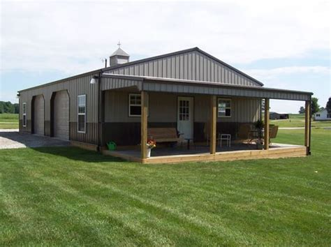 building a home on pinterest metal buildings metal definitely want a porch on our barn cedar logs for posts