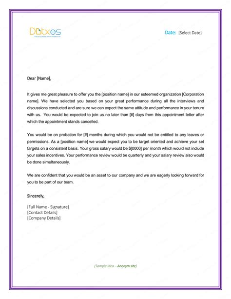 appointment letter format bond letter of employment appointment