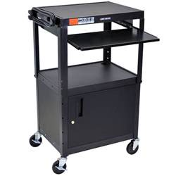 Mobile Computer Cart With Shelf luxor avj42kbc mobile computer cart workstation 24 quot x 18 quot with locking cabinet and keyboard shelf