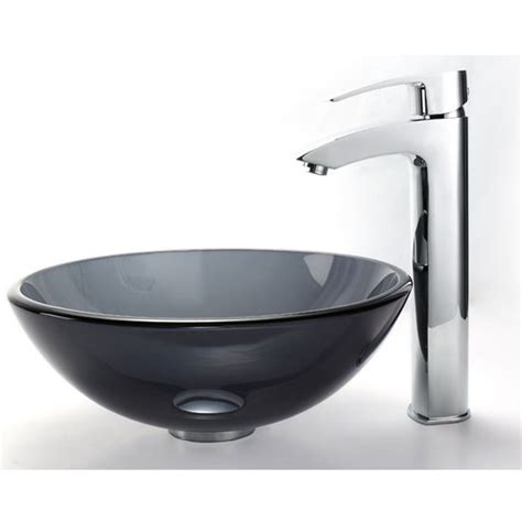 12 inch vessel bathroom sink clear black 14 inch glass vessel sink visio bathroom faucet set by kraus kitchensource