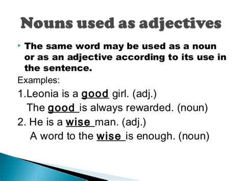sentence pattern s lv c exles name the adjectives