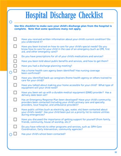 fillable hospital discharge checklist pdf fax