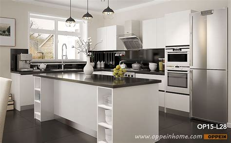 modern open white lacquer kitchen cabinet op15 l28