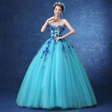 Gown Blue luxury floral light blue flower vine embroidery princess