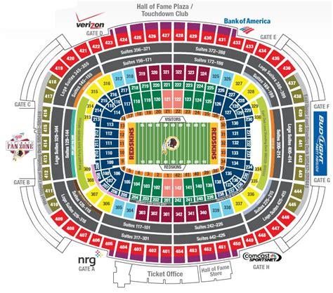 washington redskins stadium seating chart