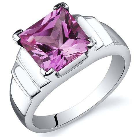 Pink Sapphire 2 25 Cts princess cut 3 25 cts pink sapphire ring sterling silver