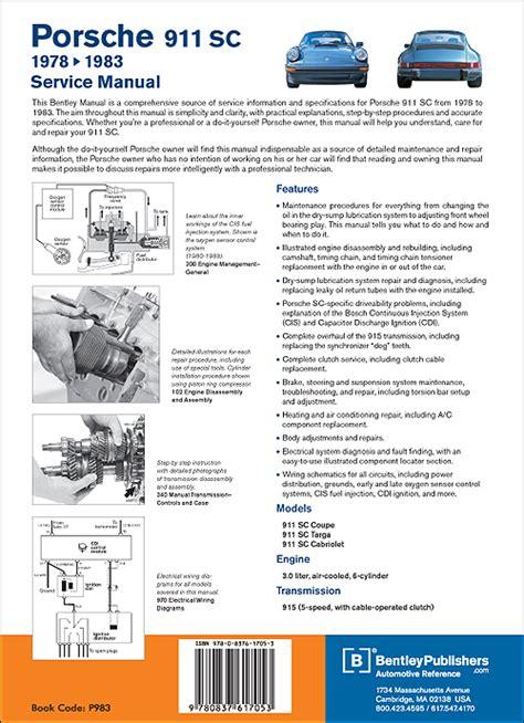 how to download repair manuals 1988 porsche 911 lane departure warning back cover porsche repair manual 911 sc coupe targa and cabriolet 1978 1983 bentley