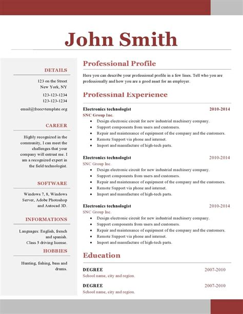 Resume Templates Free by One Page Resume Template Learnhowtoloseweight Net
