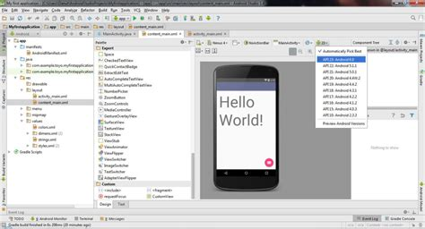 android studio http post tutorial creating first android project hello world in android