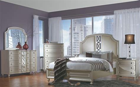 regency park pearlized silver panel bedroom set  avalon furniture coleman furniture