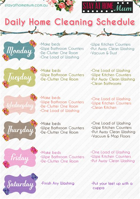 printable daily schedule for stay at home mom daily home cleaning schedule stay at home mum