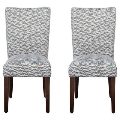 parson dining chair wood navy key set of 2 homepop