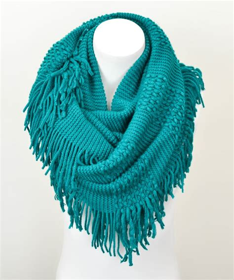 teal fringe infinity scarf accessories