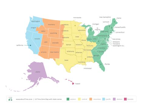 map of time zones usa usa map with time zone printable my