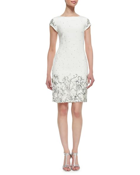 white beaded cocktail dress marchesa shift style beaded sequined cocktail dress in
