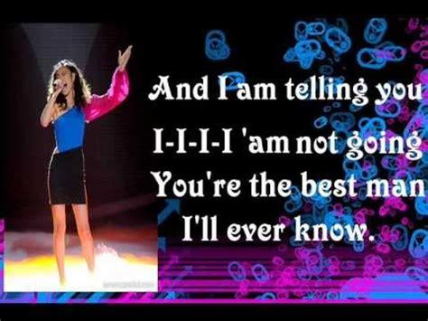 and i am telling you jessica sanchez and i am telling you with lyrics youtube