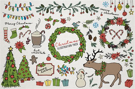 christmas themed drawing christmas clipart holiday clipart wreath art hand drawn